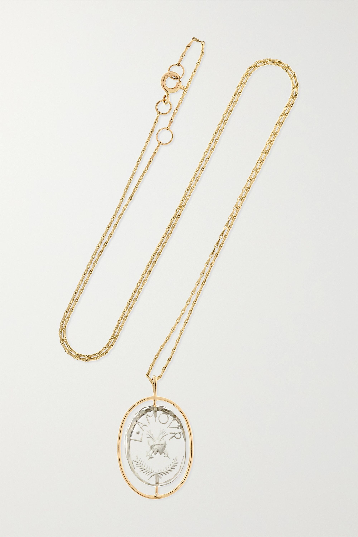 Pascale Monvoisin L'amour Kette aus 9 Karat Gold mit Kristall