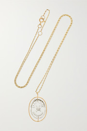 L'amour 9-karat gold crystal necklace