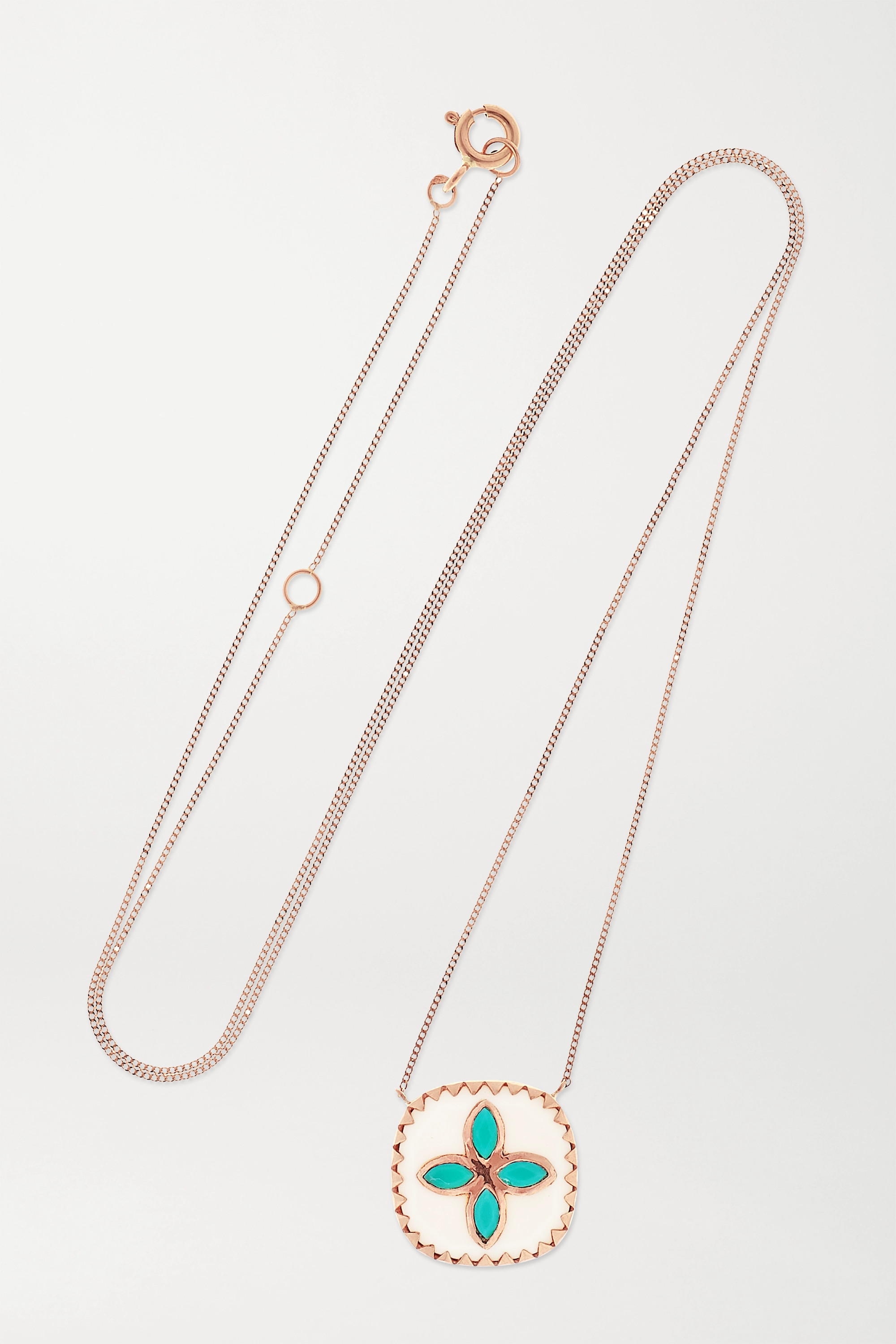 Pascale Monvoisin Bowie 9-karat rose gold, resin and turquoise necklace