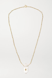 Prana N°1 9-karat gold, crystal and diamond necklace
