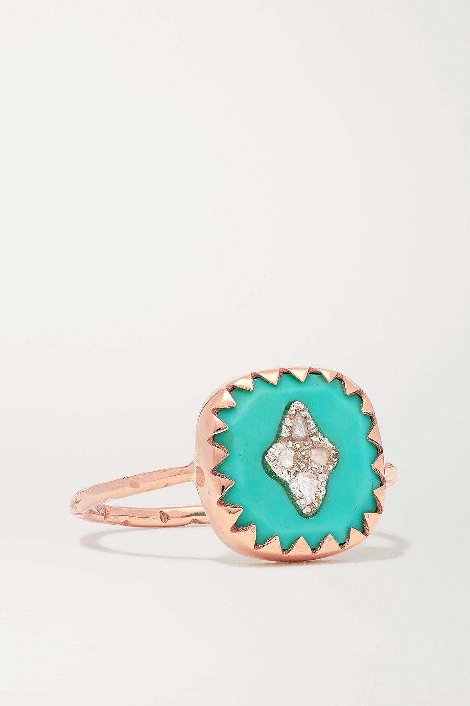 Pascale Monvoisin Pierrot 9-karat rose gold, turquoise and diamond ring
