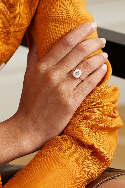 Pascale Monvoisin Pierrot 9-karat rose gold, sterling silver, resin and diamond ring