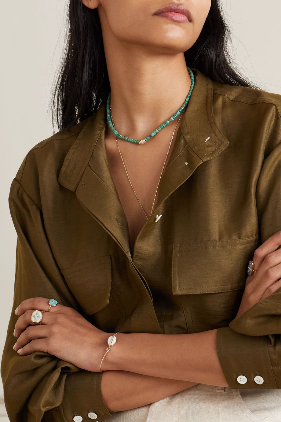 Pascale Monvoisin Taylor N°1 9-karat gold, turquoise and diamond necklace