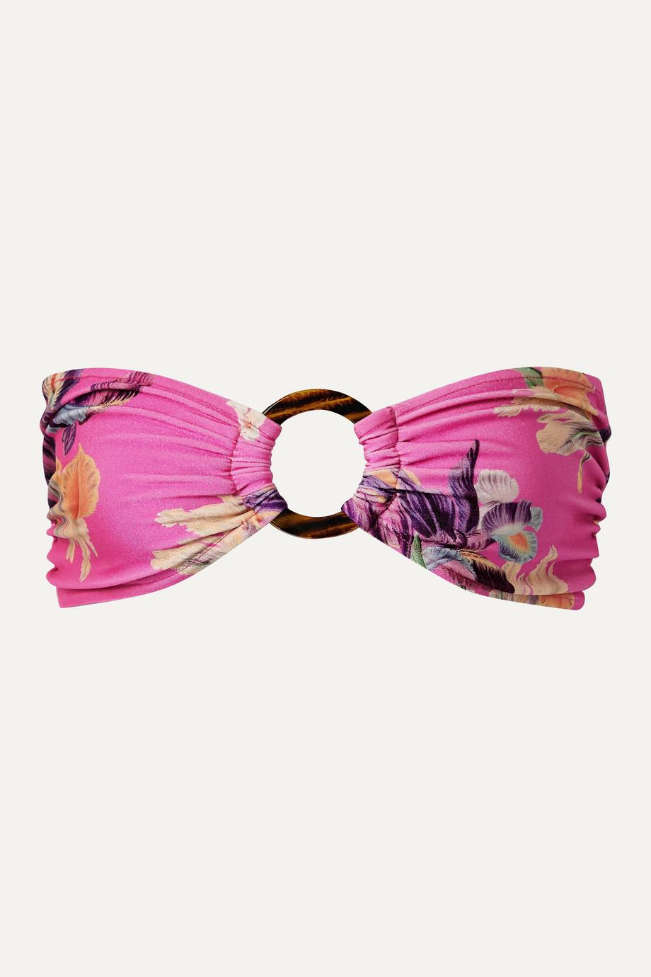 PatBO Grace embellished floral-print bandeau bikini top