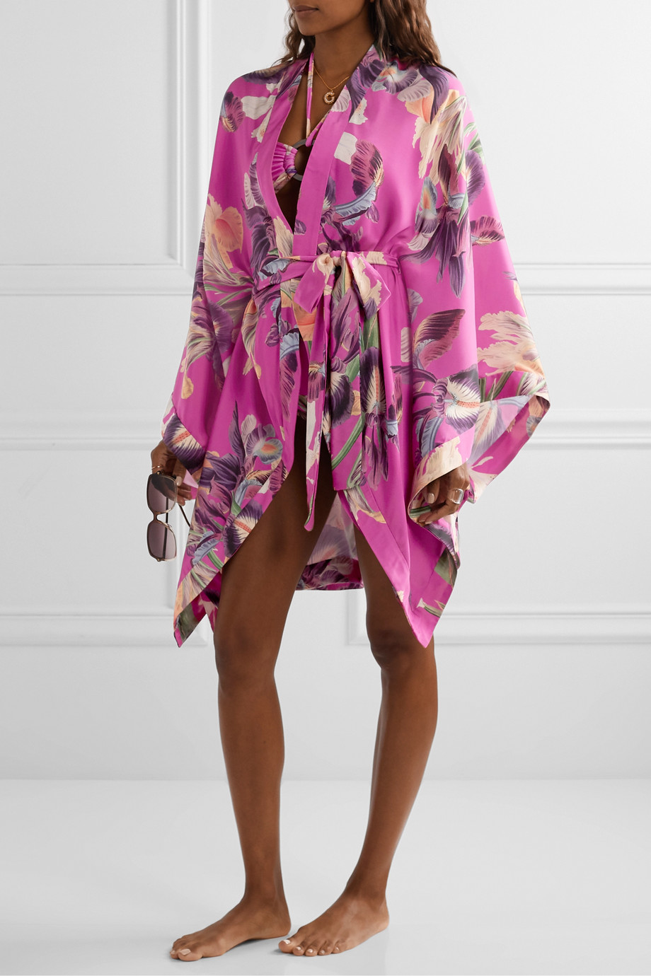 PatBO Grace floral-print charmeuse kimono