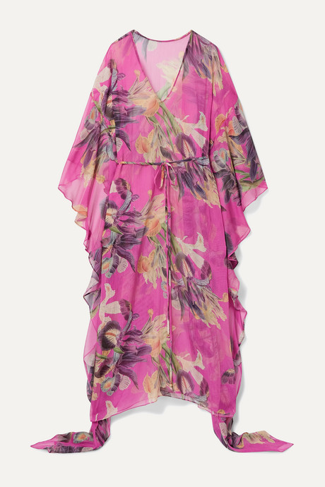 Fuchsia Grace asymmetric floral-print gauze kaftan | PatBO KqZbgg