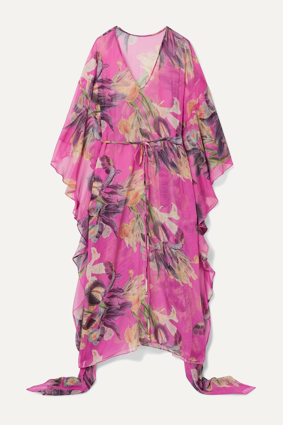 PatBO Grace asymmetric floral-print gauze kaftan
