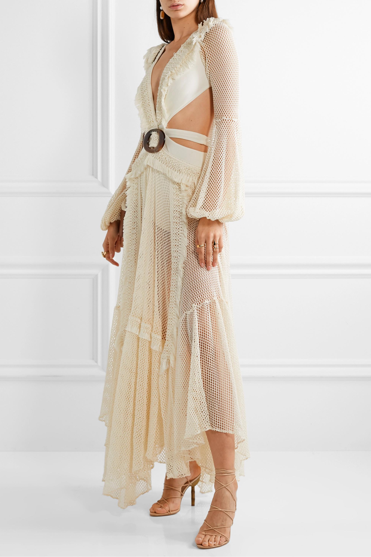 PatBO Cutout fringed cotton-blend mesh and stretch-jersey maxi dress