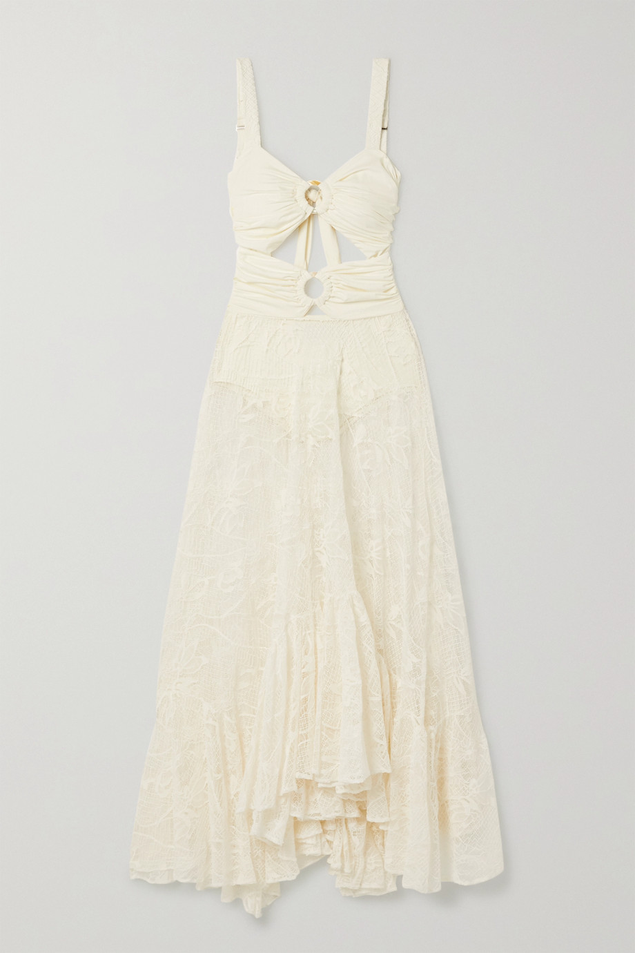 PatBO Cutout ruched stretch-jersey and corded lace maxi dress