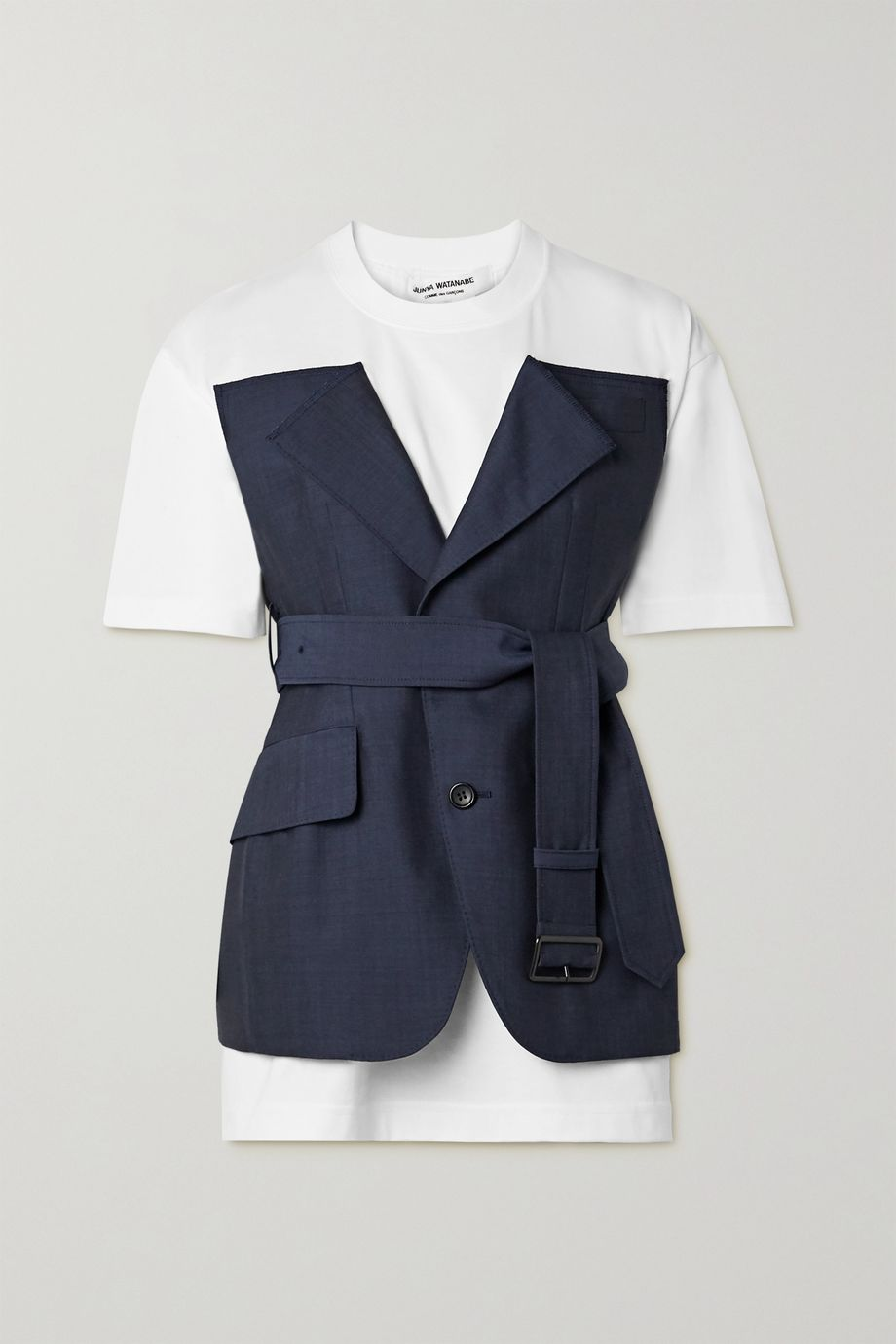 Junya Watanabe Layered belted cotton-jersey and wool and mohair-blend top