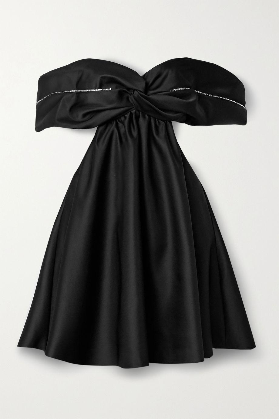 AREA Off-the-shoulder embellished duchesse-satin mini dress