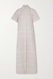 AREA Crystal-embellished broderie anglaise cotton-blend maxi shirt dress