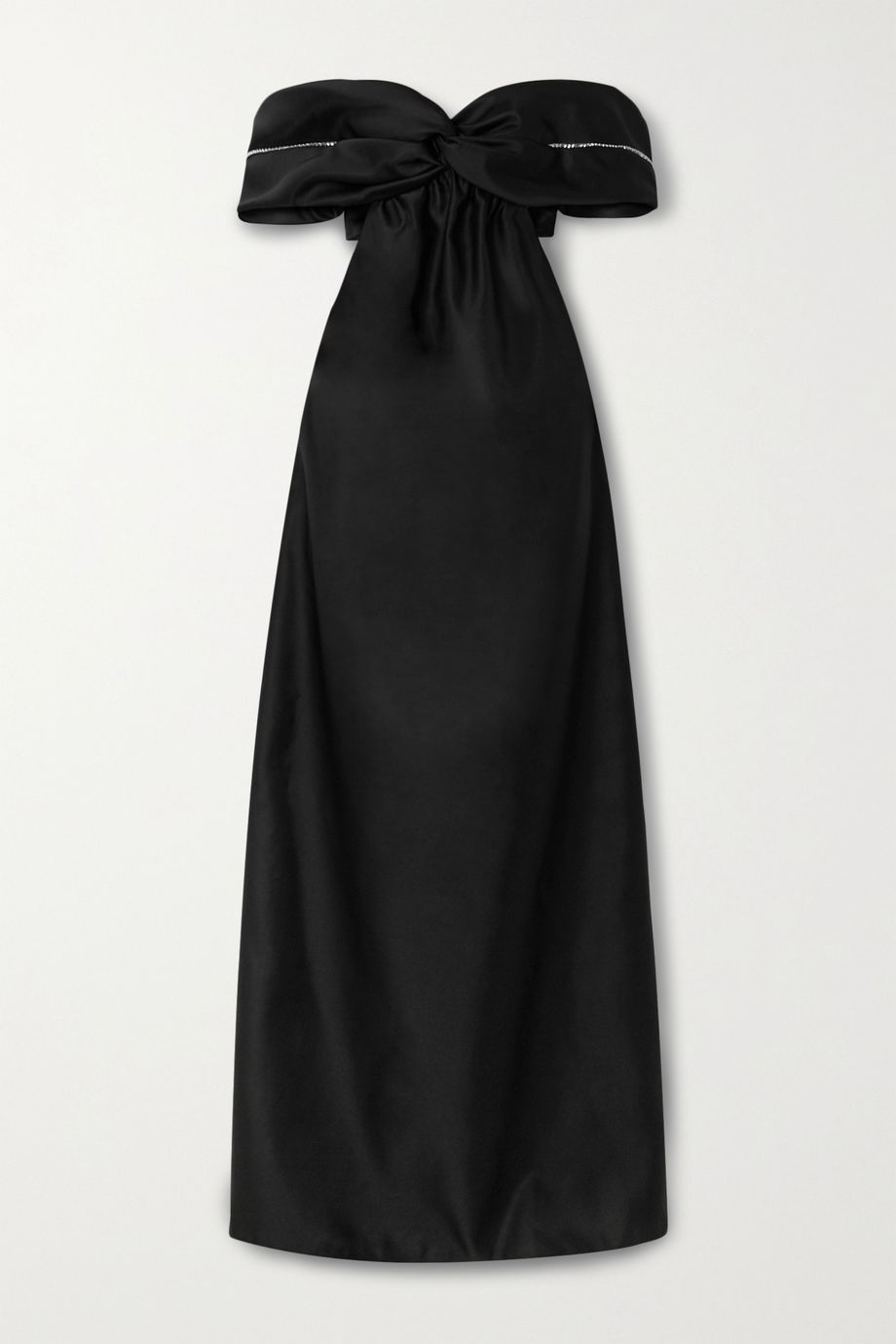 AREA Off-the-shoulder cutout crystal-embellished duchesse-satin gown