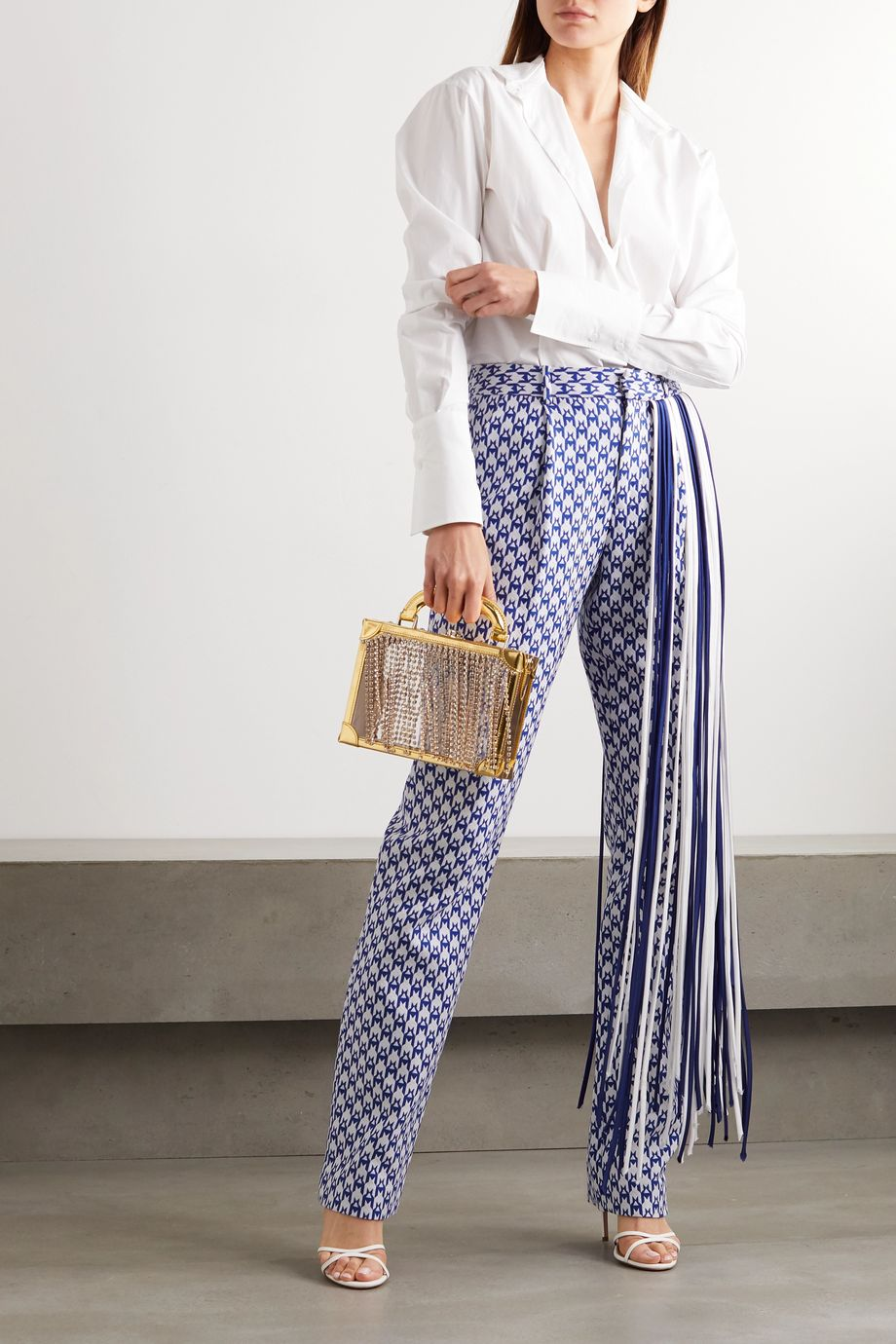 AREA Fringed houndstooth cotton-blend straight-leg pants