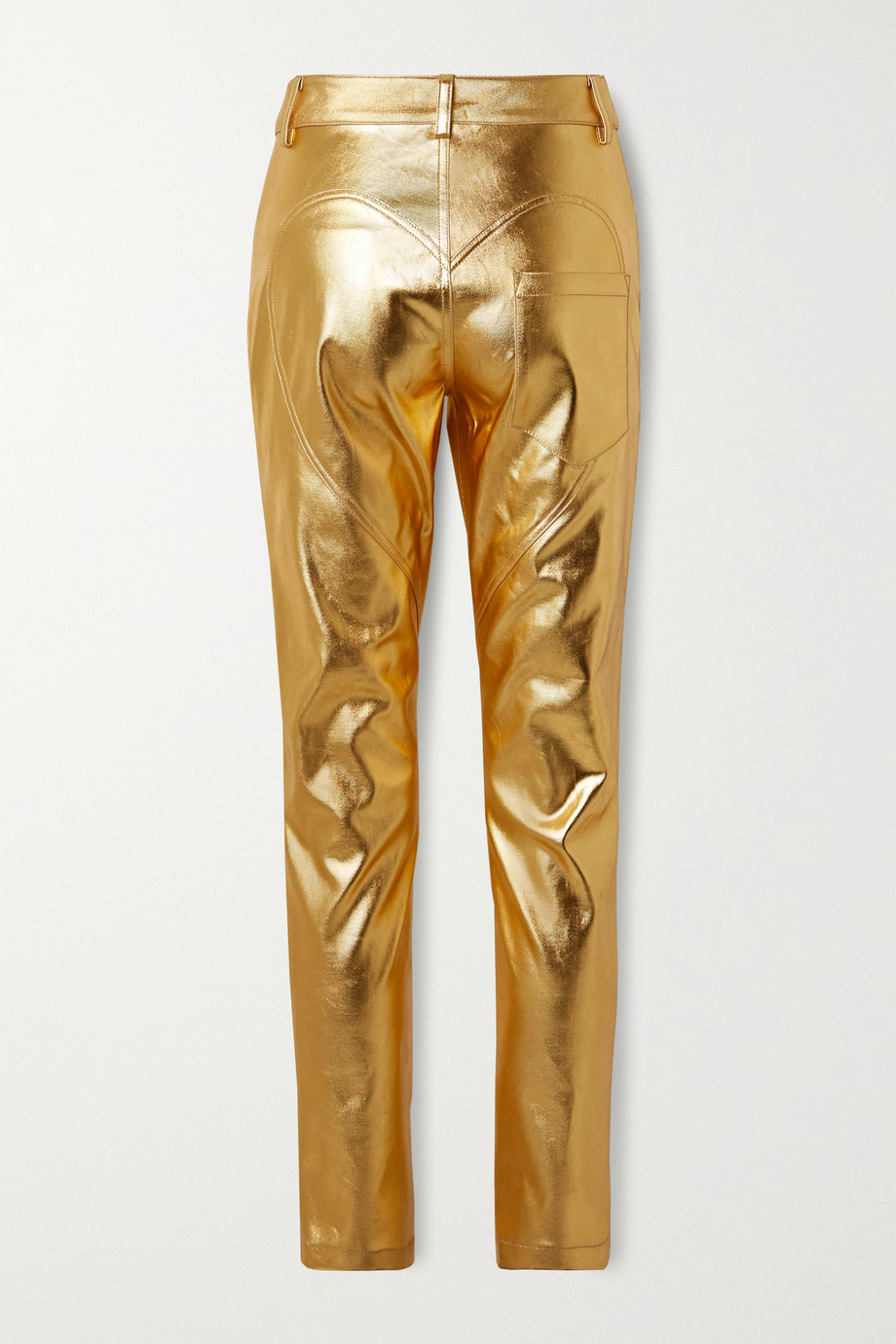 AREA Metallic coated mid-rise straight-leg jeans