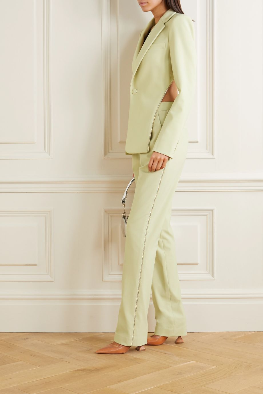 AREA Crystal-embellished cady straight-leg pants
