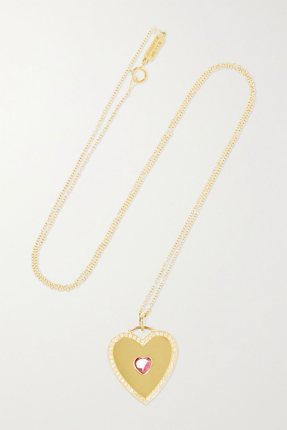 Jennifer Meyer Large Heart 18-karat gold, tourmaline and diamond necklace