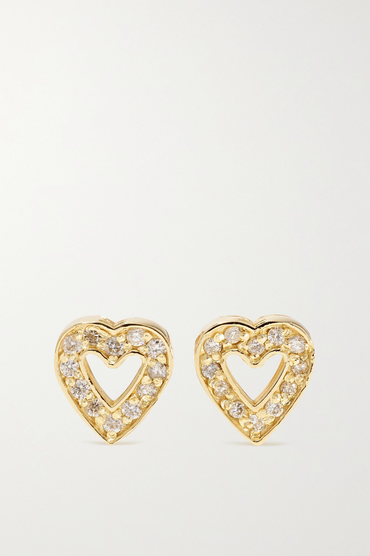 Jennifer Meyer Mini Open Heart 18-karat gold diamond earrings