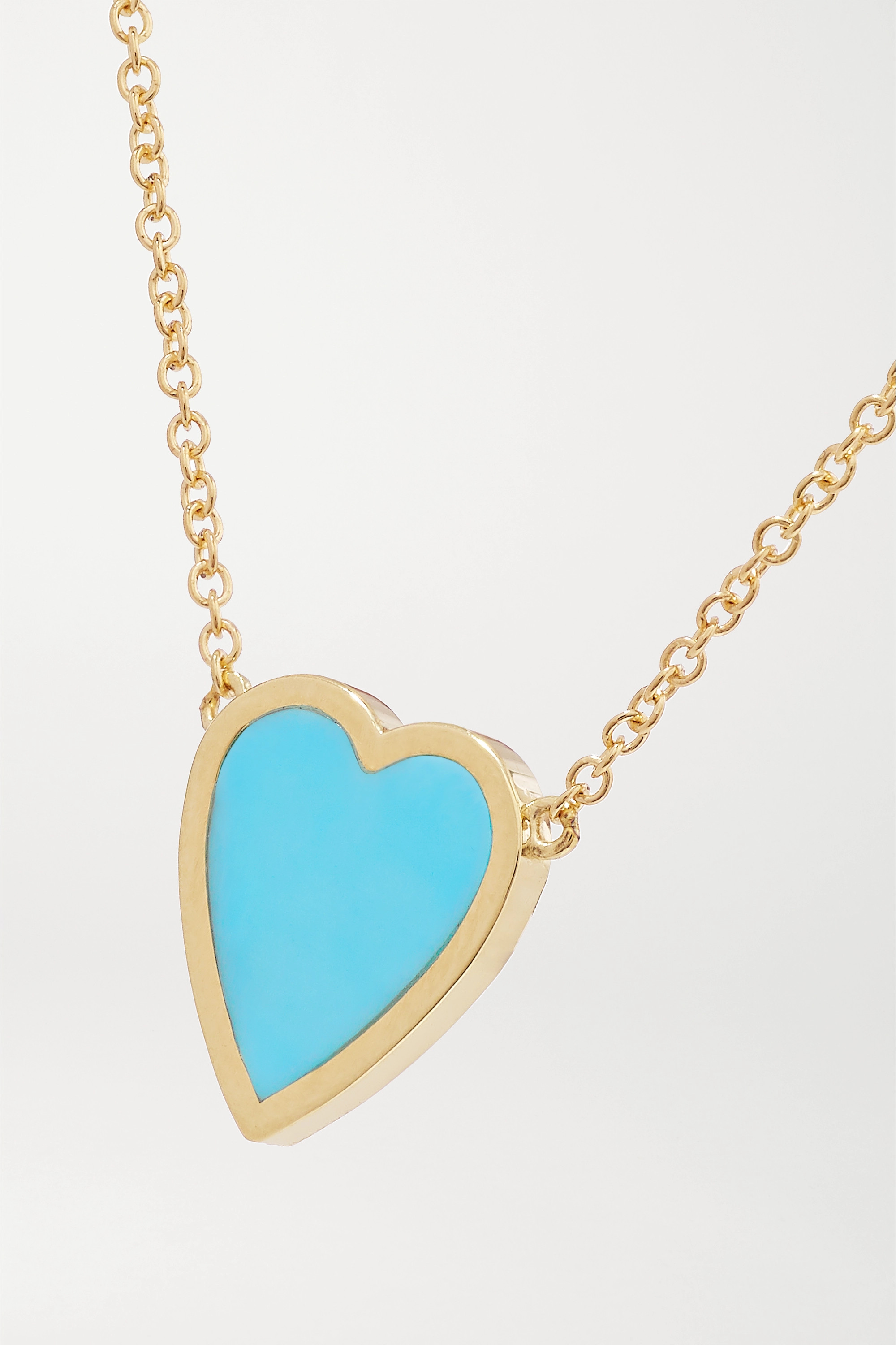 Jennifer Meyer Mini Heart 18-karat gold turquoise necklace