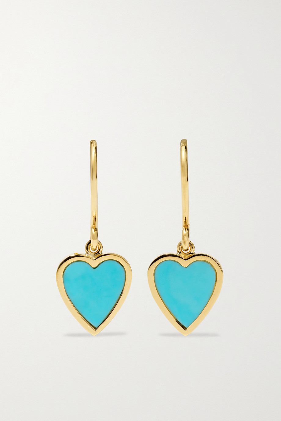 Jennifer Meyer Mini Heart 18-karat gold turquoise earrings