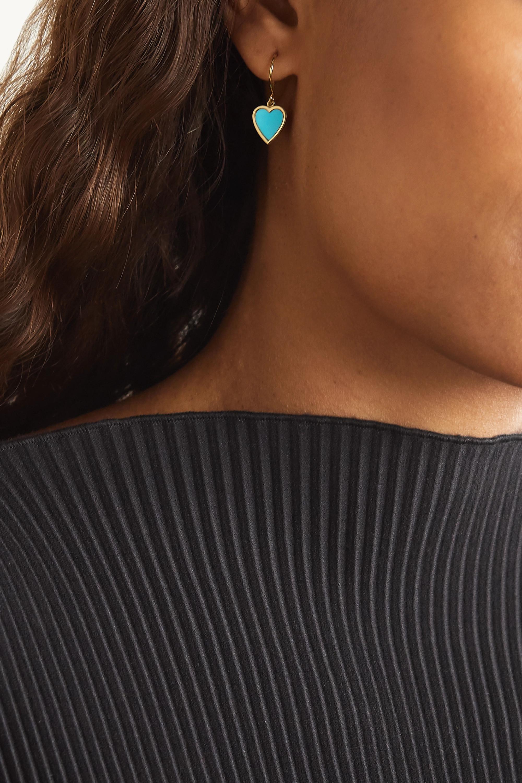 Jennifer Meyer Mini Heart 18-karat gold turquoise earrings