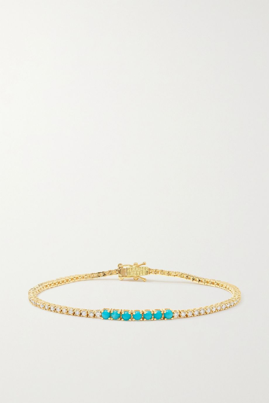 Jennifer Meyer Bracelet en or 18 carats, diamants et turquoises