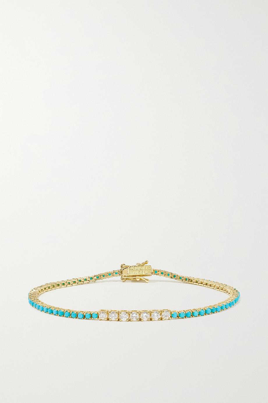 Jennifer Meyer 18-karat gold, diamond and turquoise bracelet