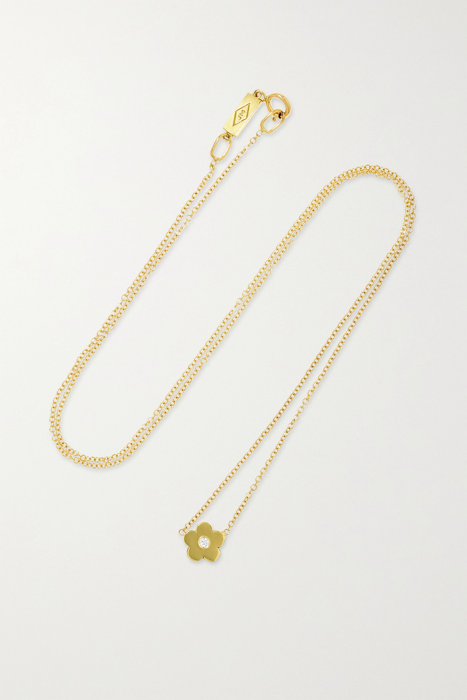 Jennifer Meyer Mini Daisy 18-karat gold diamond necklace