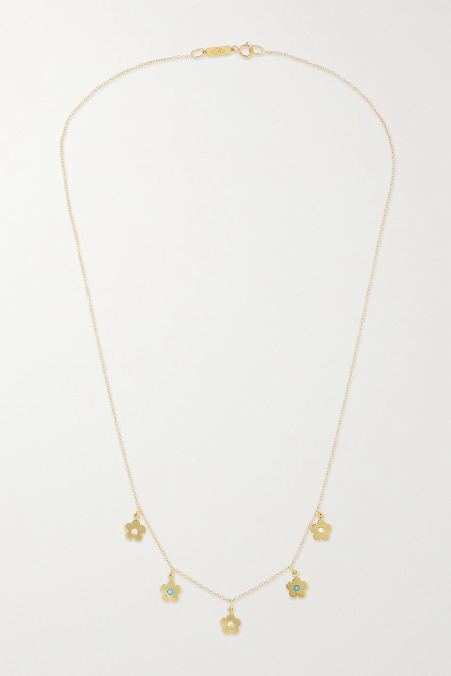 Jennifer Meyer Daisy mini 18-karat gold, turquoise and diamond necklace