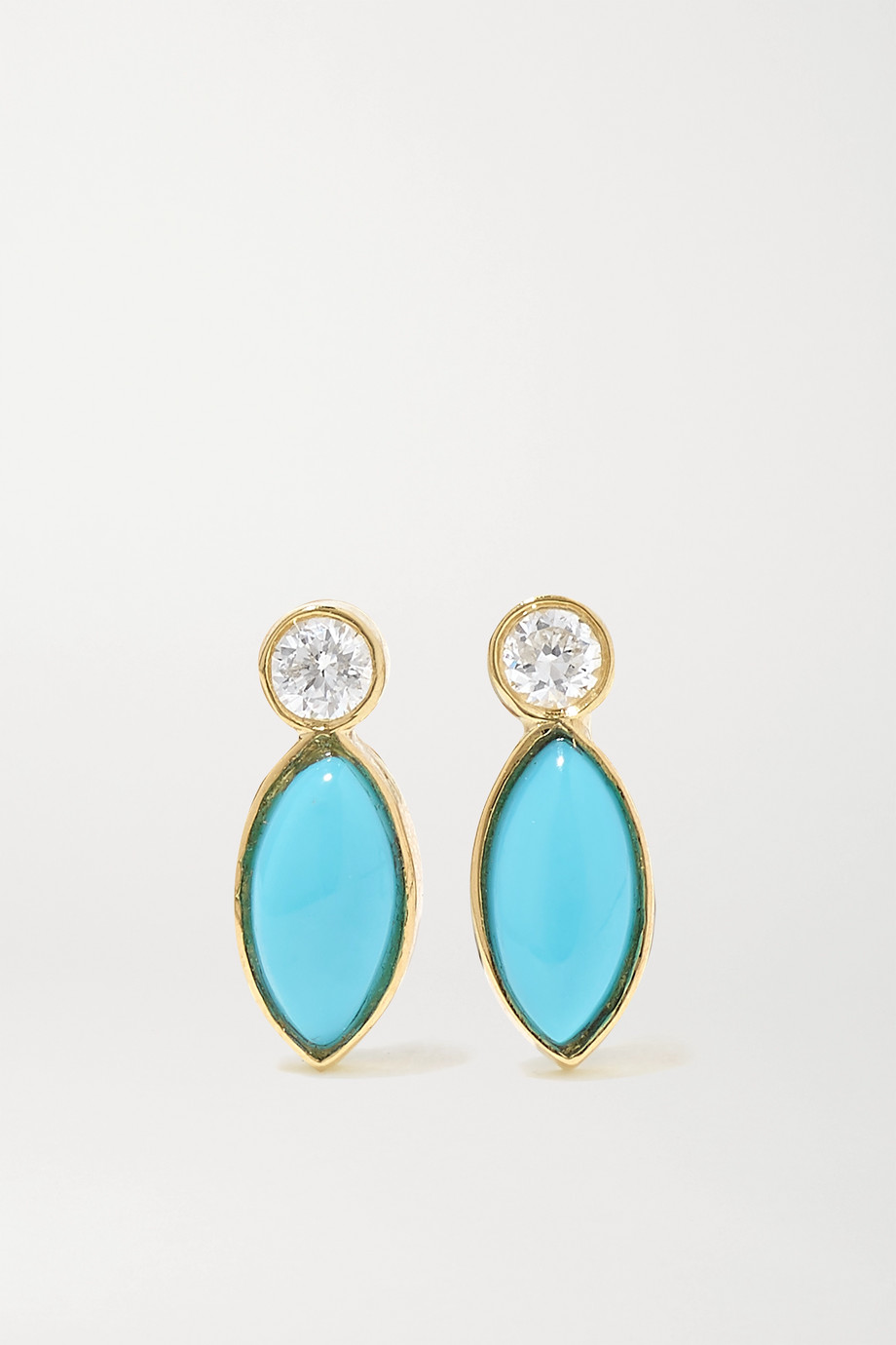 Jennifer Meyer 18-karat gold, turquoise and diamond earrings