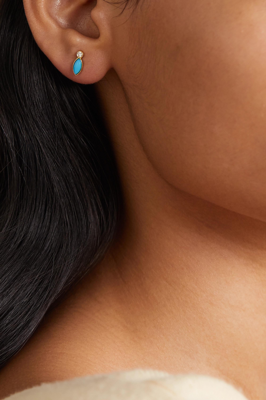 Doré Boucles D'oreilles En Or 18carats, Turquoises Et Diamants | Jennifer Meyer