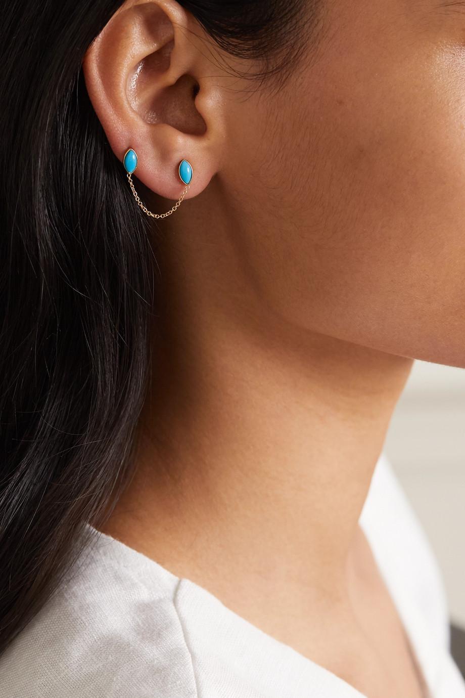 Jennifer Meyer Boucle d'oreille en or 18carats et turquoises