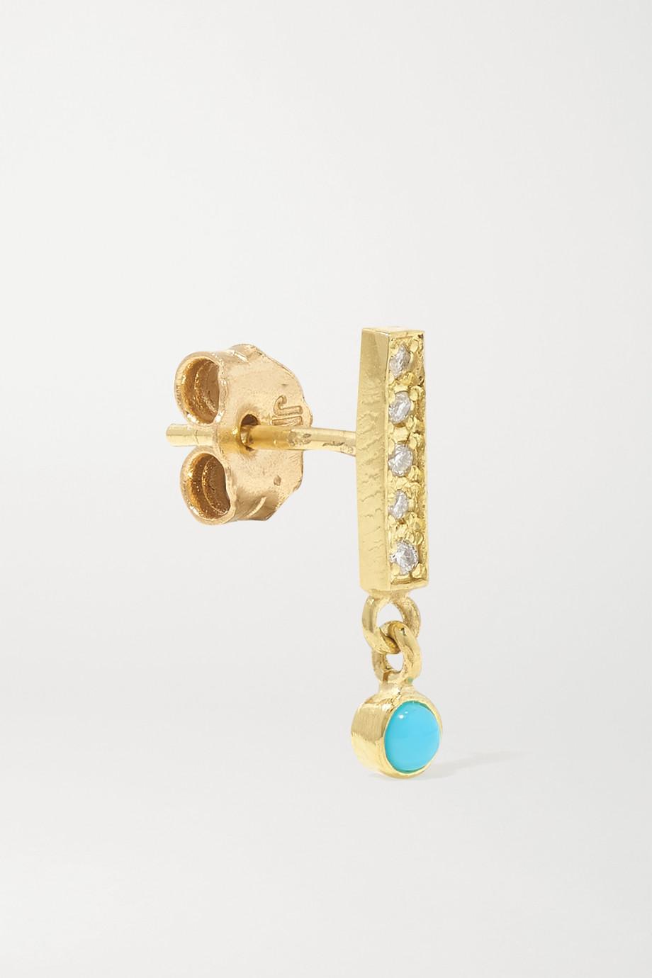 Jennifer Meyer 18-karat gold, diamond and turquoise earrings
