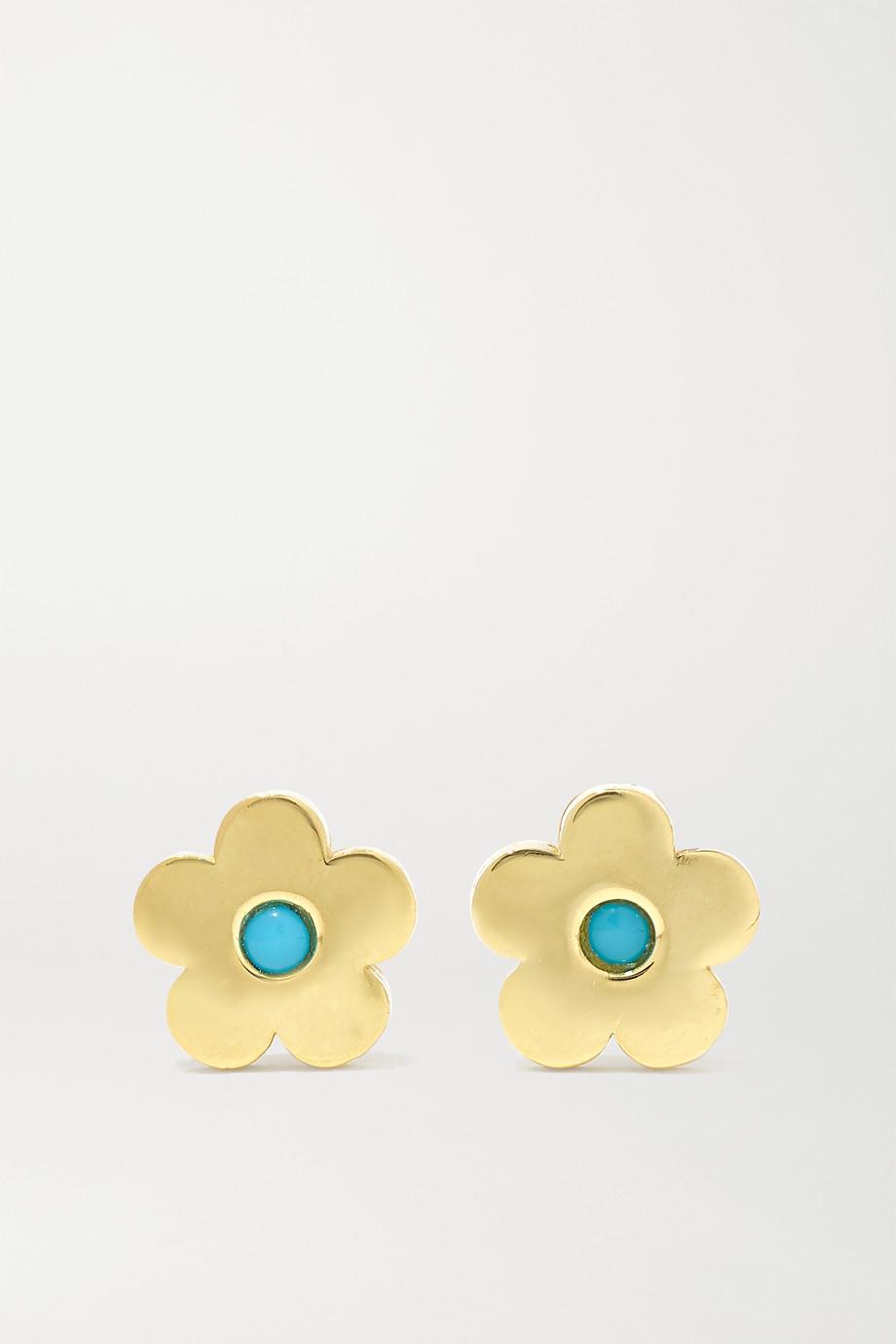 Jennifer Meyer Mini Daisy 18-karat gold turquoise earrings