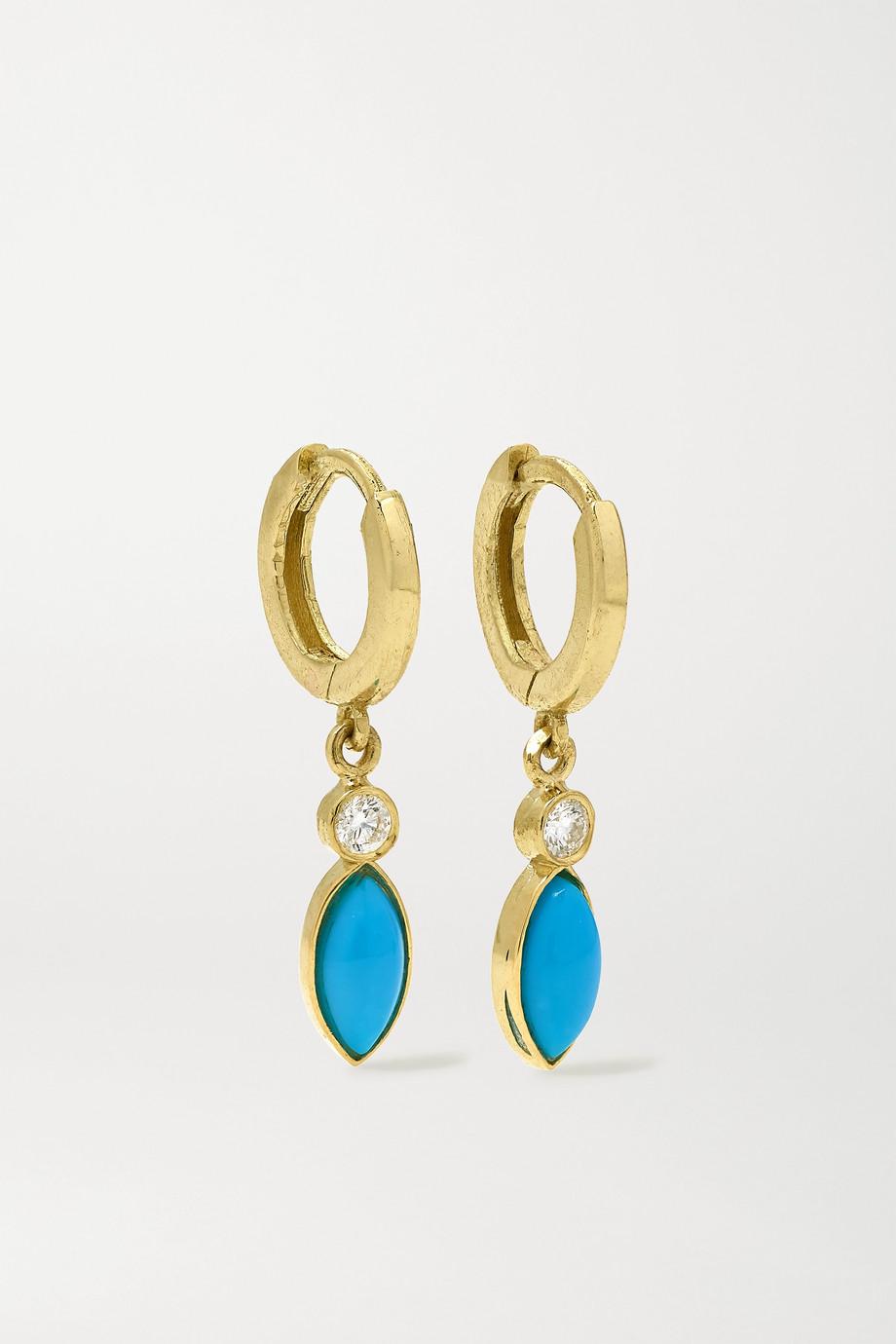 Jennifer Meyer Boucles d'oreilles en or 18carats, turquoises et diamants