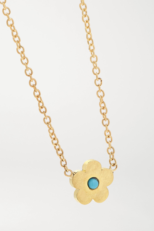 Jennifer Meyer Mini Daisy 18-karat gold turquoise necklace