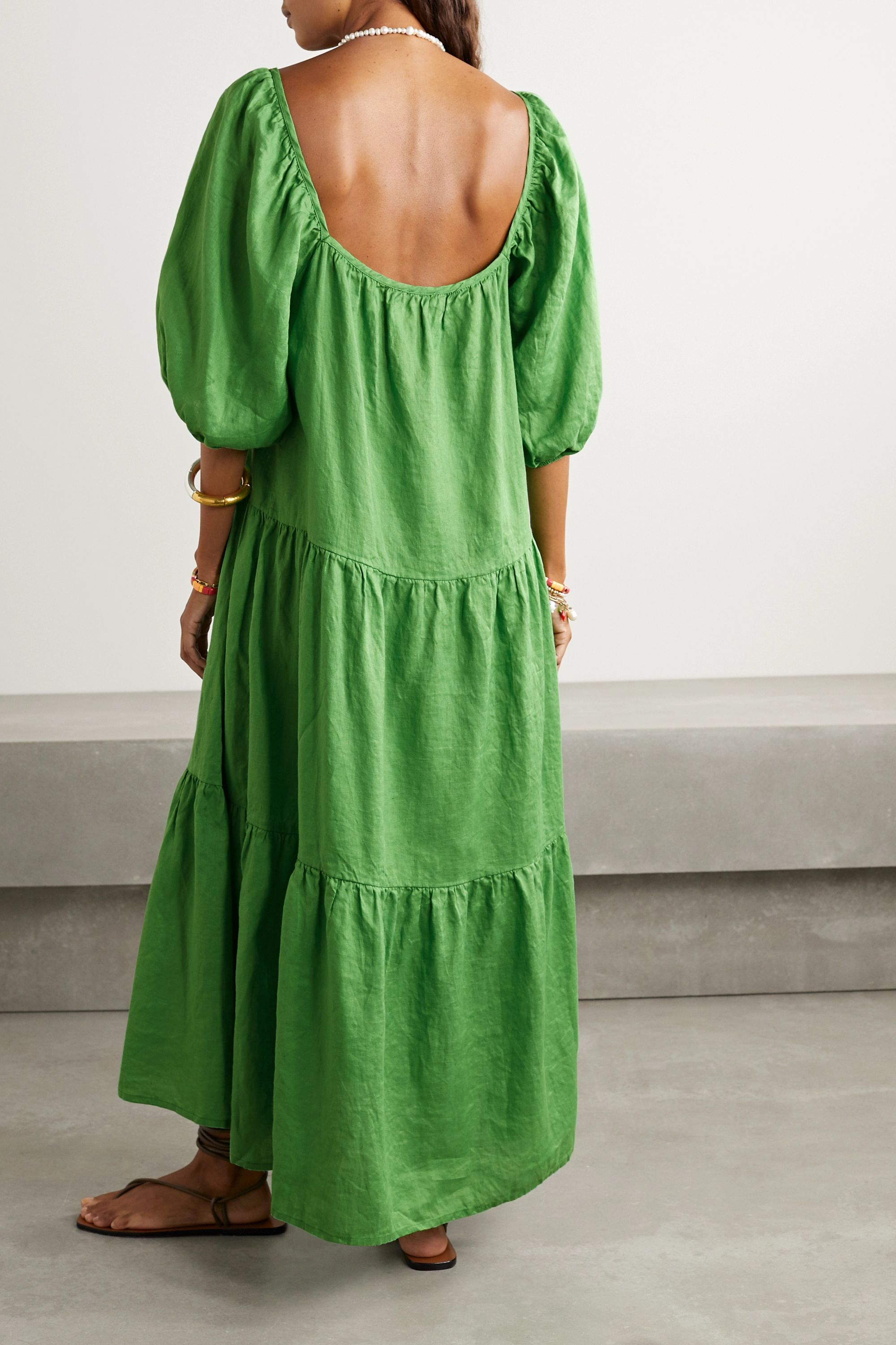 Solid & Striped Peasant tiered crinkled-linen maxi dress