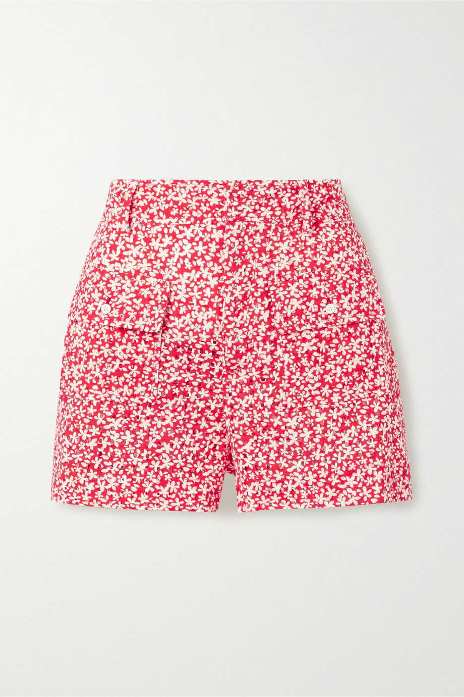 Solid & Striped Floral-print broderie anglaise cotton shorts