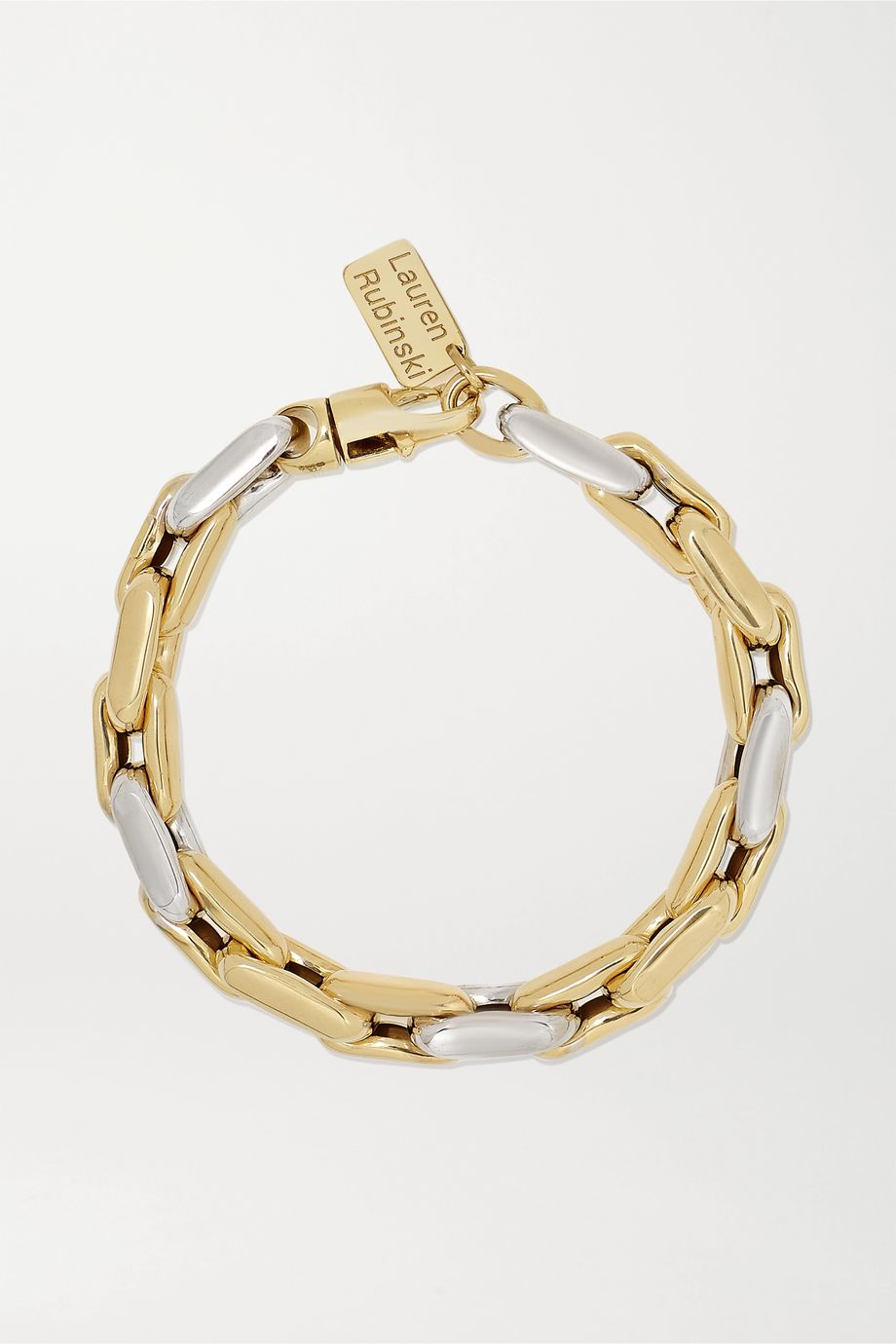 Lauren Rubinski Small 14-karat white and yellow gold bracelet