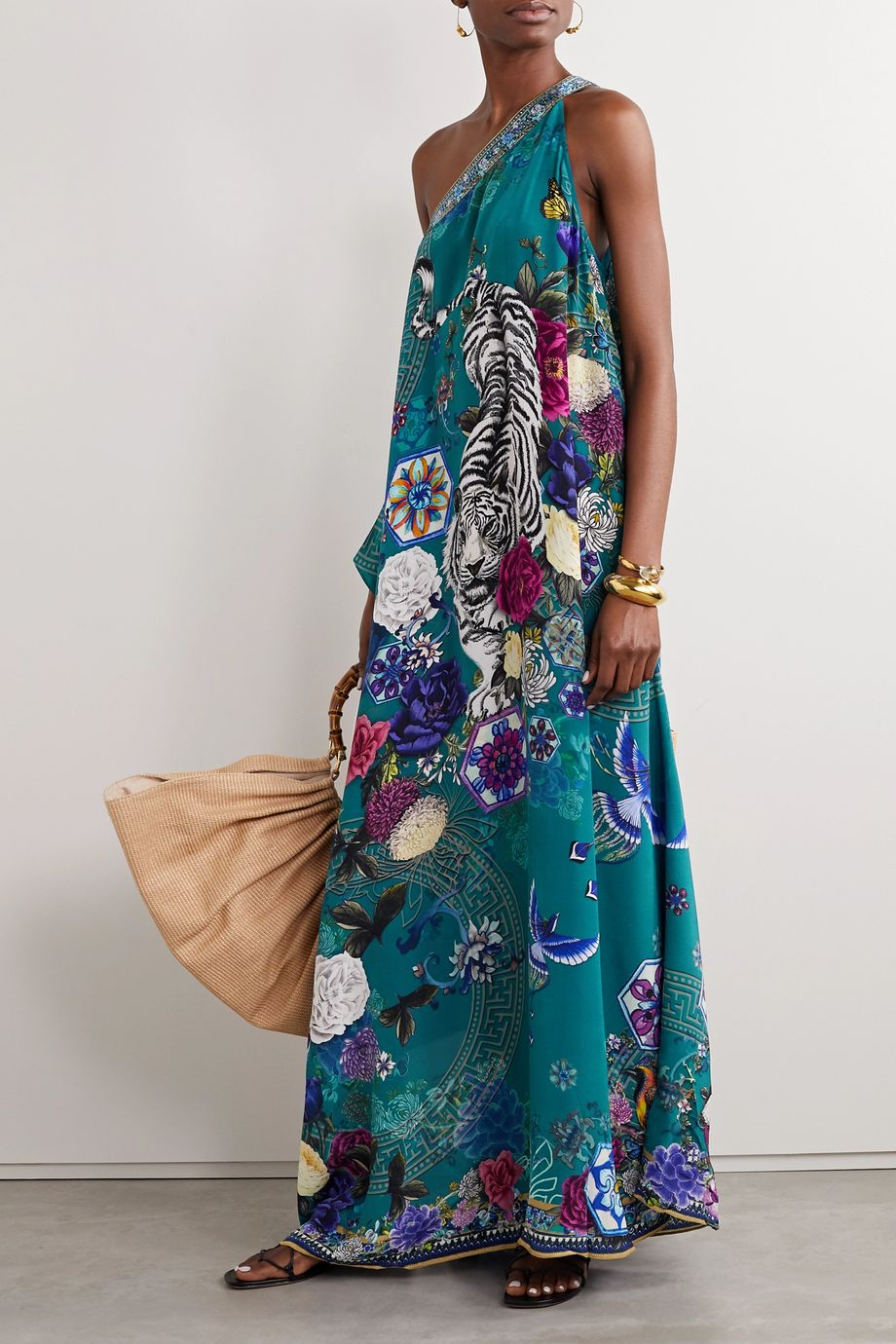 Camilla One-sleeve printed silk crepe de chine maxi dress