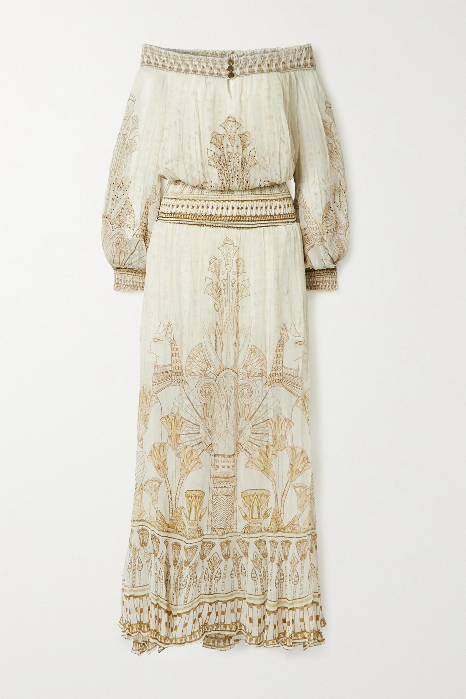 Camilla Off-the-shoulder crystal-embellished printed silk-crepon maxi dress