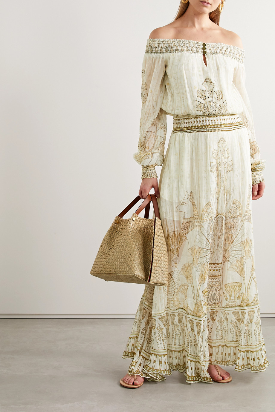 Camilla Off-the-shoulder crystal-embellished printed silk-crepon maxi dress