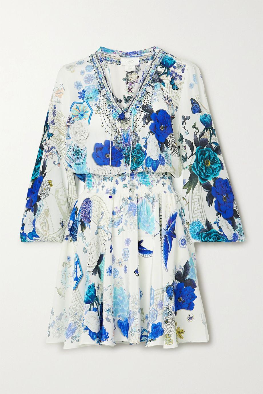Camilla Embellished shirred printed silk crepe de chine mini dress