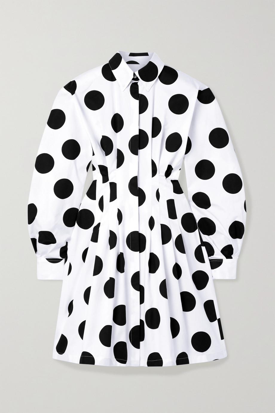 Carolina Herrera Pleated polka-dot cotton-twill mini shirt dress