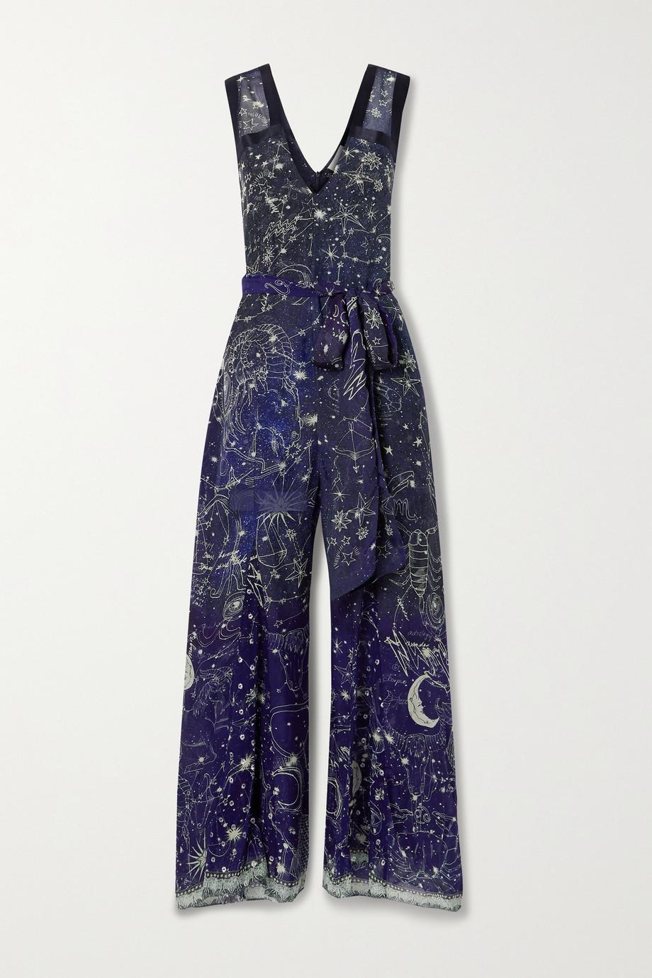 Camilla Belted satin-trimmed printed silk crepe de chine jumpsuit