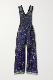 Camilla Belted satin-trimmed printed silk crepe de chine jumpsuit
