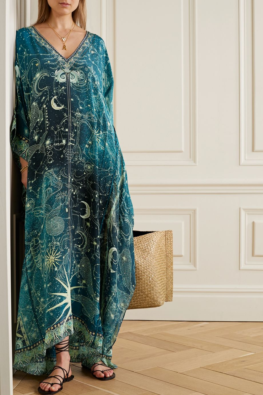 Camilla Crystal-embellished printed silk crepe de chine kaftan