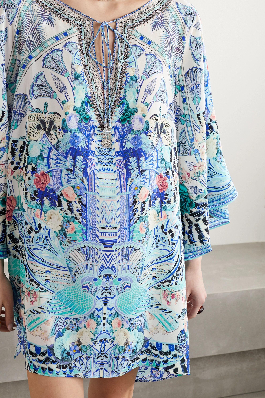 Camilla Crystal-embellished printed silk crepe de chine mini dress