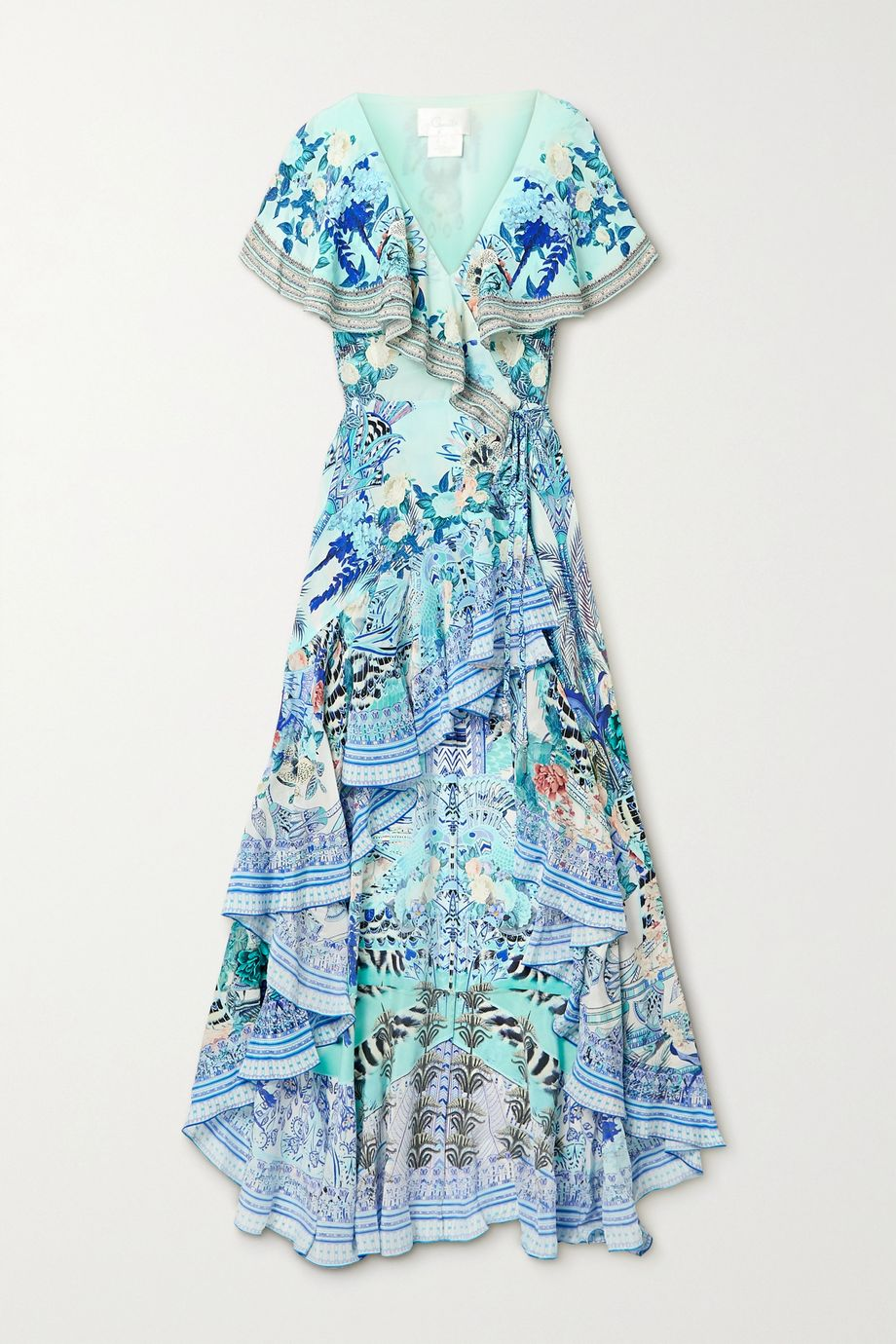 Camilla Asymmetric crystal-embellished silk crepe de chine wrap maxi dress