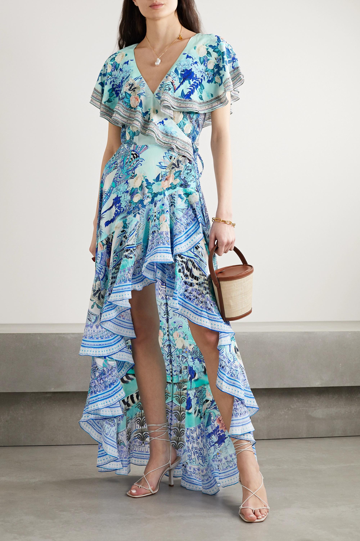 Camilla Asymmetric crystal-embellished silk crepe de chine wrap maxi dress